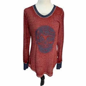 No Boundaries Long Sleeve T-Shirt SKULL Graphic Top Size M